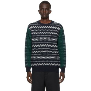 Comme des Garcons Homme Navy and Green Wool Jacquard Sweater