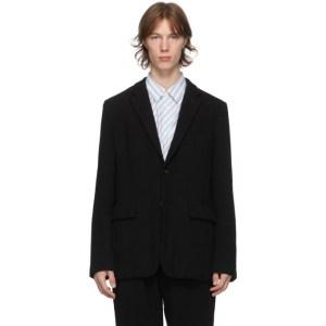 Comme des Garcons Homme Deux Black Wool Thick Serge Blazer