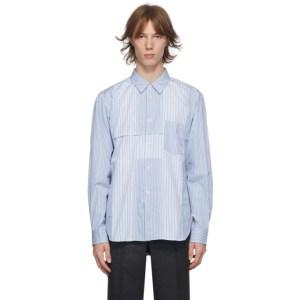 Comme des Garcons Homme Deux Blue Paneled Stripe Shirt