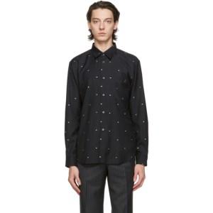 Comme des Garcons Homme Deux Black Gabardine Polka Dot Shirt