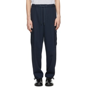 Boss Navy Wool Exit 64 Cargo Pants