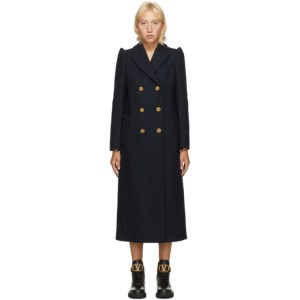 RED Valentino Navy Wool Double-Breasted Coat