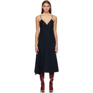 Tibi Navy Luxe Wool Cami Dress