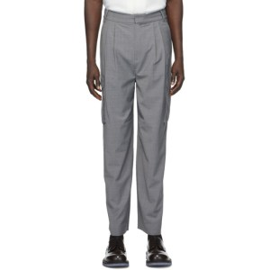 Tibi Grey Pleated Cargo Pants
