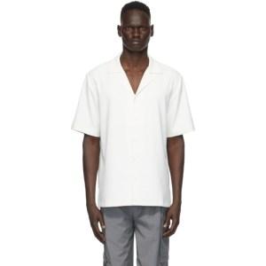 Tibi Off-White Chalky Drape Short Sleeve Shirt