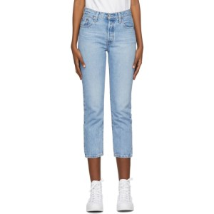 Levis Blue 501 Original Cropped Jeans