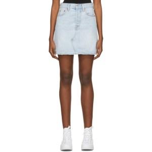 Levis Blue Demin High-Rise Deconstructed Miniskirt