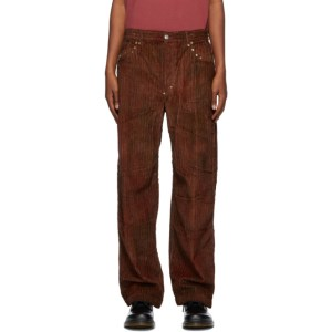 Phipps Red and Brown Corduroy Tie-Dye Studded Trousers