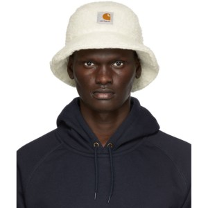 Carhartt Work In Progress White Fleece Northfield Bucket Hat