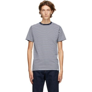 Norse Projects Navy and White Striped Niels T-Shirt