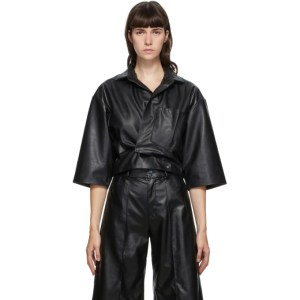 Markoo SSENSE Exclusive Black Faux-Leather Crop Shirt