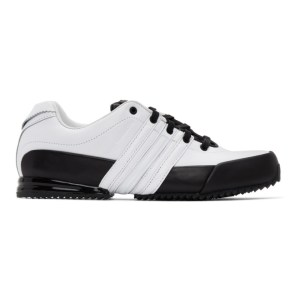Y-3 White and Black Leather Sprint Sneakers