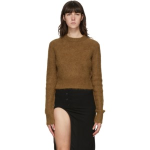 Helmut Lang Tan Alpaca Shrunken Sweater