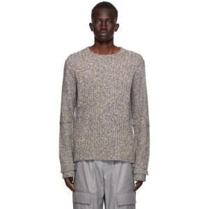 Helmut Lang Black and Multicolor Wool Marled Sweater