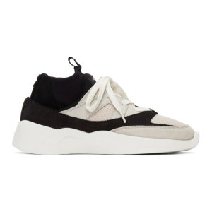 Essentials Black and Beige Sock Runner Sneakers