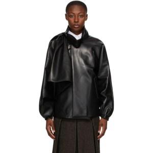 Maison Margiela Black Faux-Leather Draped Jacket