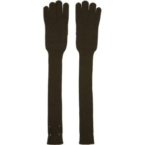 Maison Margiela Green Wool Gauge Long Gloves