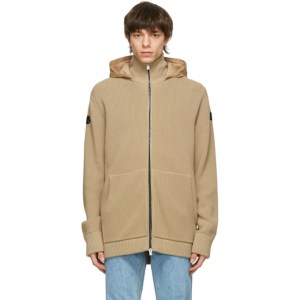 Moncler Genius Tan Down Long Cardigan Hoodie