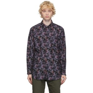 Engineered Garments Black and Purple Flannel Floral Shirt