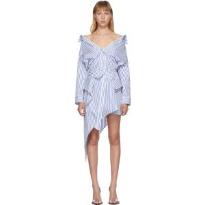 Alexander Wang White and Blue Deconstructed Shirt Dress
