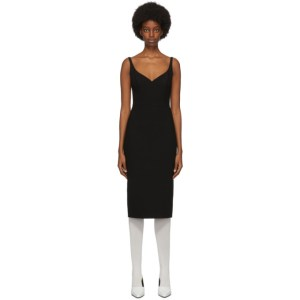 Marc Jacobs Black Wool and Silk Double Face Mid-Length Dress