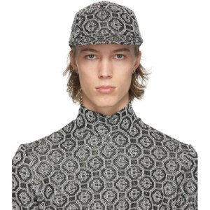 Casablanca Black and Silver Lurex Monogram Cap