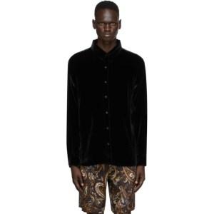 Nahmias Black Silk Velvet Shirt