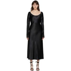 Marina Moscone Black Heavy Satin Fluid Dress