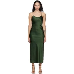 Marina Moscone Green Heavy Satin Bias Slip Dress