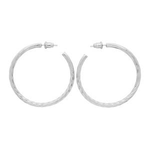 Portrait Report Silver Sade Twist Hoop Earrings