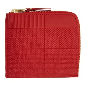 Comme des Garcons Wallets Red Intersection Half-Zip Wallet