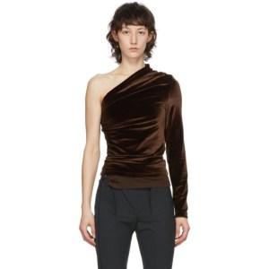 Supriya Lele Brown Velvet Ruching Off-Shoulder Blouse