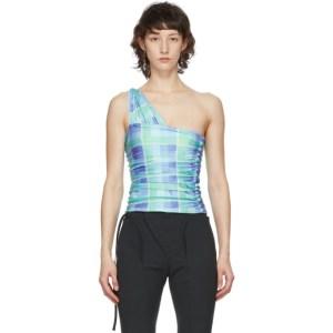 Supriya Lele Blue and Green Ruched Wrap Tank Top