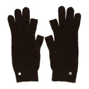 Rick Owens Brown Mohair and Alpaca Touchscreen Gloves
