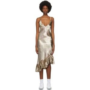 Collina Strada Gold Velvet Michi Mid-Length Dress