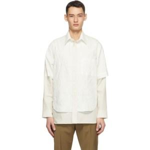 Deveaux New York Off-White Crinkle Duncan Shirt