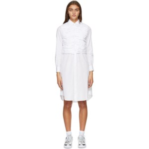 Comme des Garcons White Ruched Shirt Dress