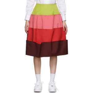 Comme des Garcons Green and Pink 4 Part Skirt