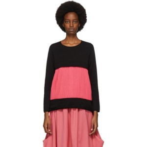 Comme des Garcons Black and Pink Plisse Insert Crewneck