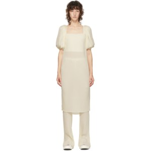 Pushbutton SSENSE Exclusive Off-White Pleated Bell Bottom Dress Set