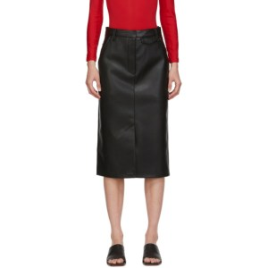 Pushbutton SSENSE Exclusive Black Faux-Leather and Denim Skirt