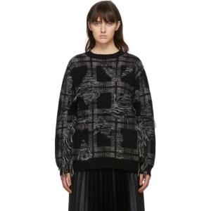 Junya Watanabe Black and Grey Check Sweater