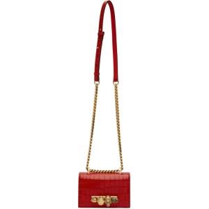 Alexander McQueen Red Mini Croc Jewelled Satchel Bag
