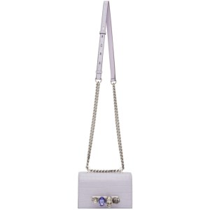 Alexander McQueen Purple Mini Jeweled Satchel Bag