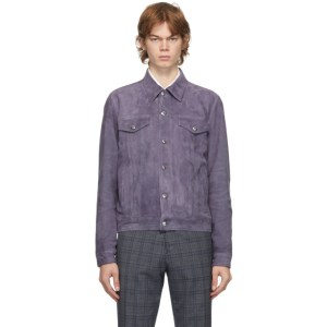Paul Smith Purple Suede Trucker Jacket