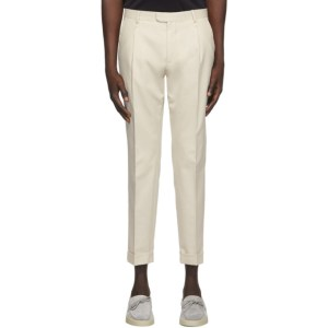 Z Zegna Off-White One Pleat Trousers