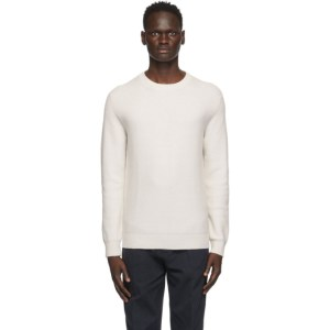 Ermenegildo Zegna Off-White Cashmere Honeycomb Sweater
