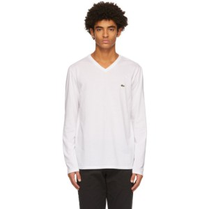 Lacoste White Logo V-Neck Long Sleeve T-Shirt