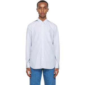Comme des Garcons Shirt Blue and White Striped Panelled Shirt