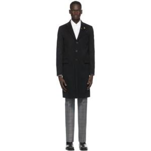 Givenchy Black Wool Lapel Pin Long Coat